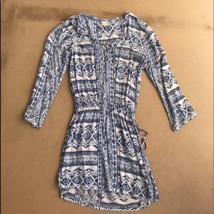 blue and white long sleeve boho dress. Surf Gypsy